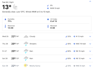 screenshot of weather forecast for Larnaka