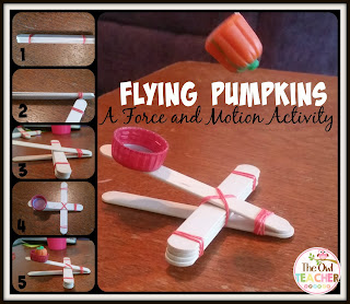 Review force and motion or simple machines with this fun flying pumpkins freebie and science activity for Halloween!