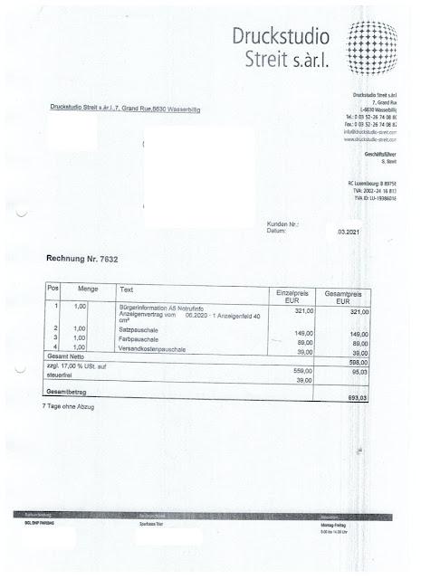 Scan: Druckstudio Streit s.àr.l / Rechnung / März 2021