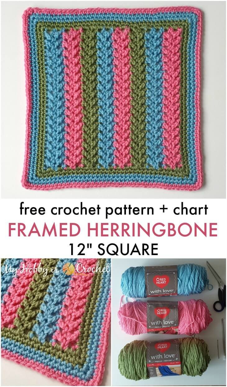 "Framed Herringbone 12"" Square - Free Crochet Pattern + Chart"