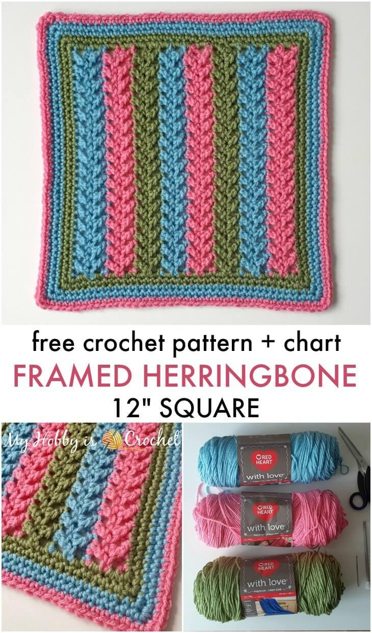 "Framed Herringbone 12"" Square - Free Crochet Pattern + Chart"