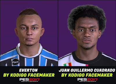 PES 2017 Faces Everton Soares & Cuadrado by Kodigo