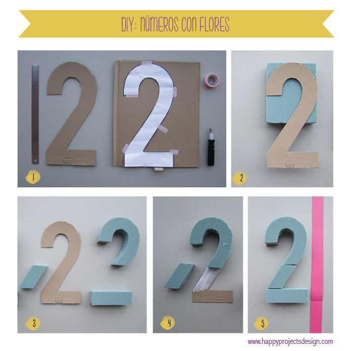 DIY: números de cartón decorados con flores de tela