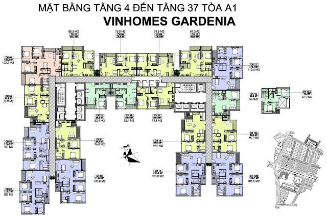 mặt bằng tòa A1 Vinhomes Gardenia