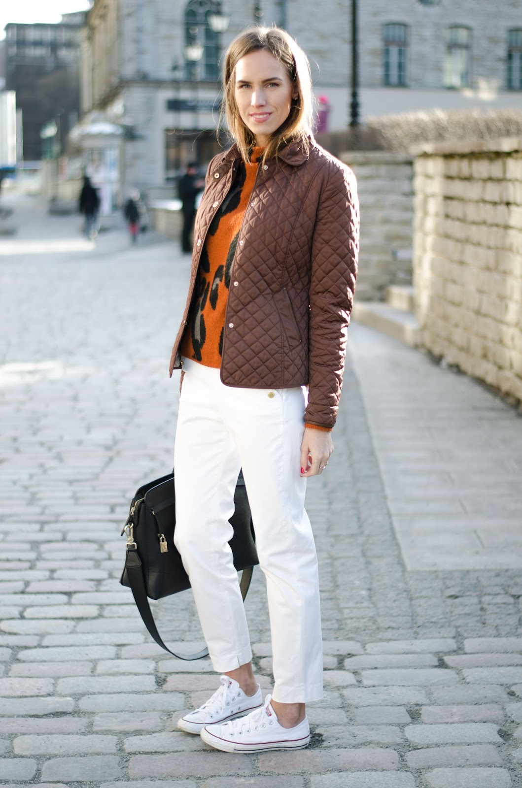 kristjaana mere quilted jacket white trousers spring fashion