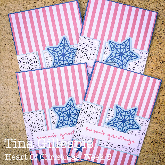 scissorspapercard, Stampin' Up!, Heart Of Christmas, Pattern Party DSP, Christmas To Remember, Gingerbread Dies, Sheetload Of Cards, Christmas Card