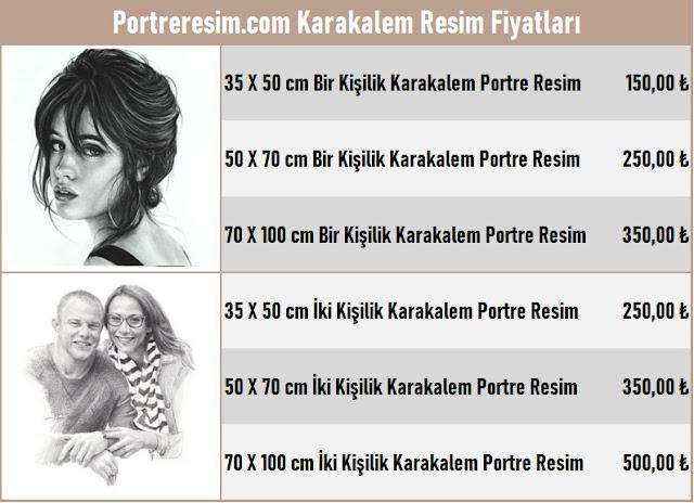 portre karakalem fiyat