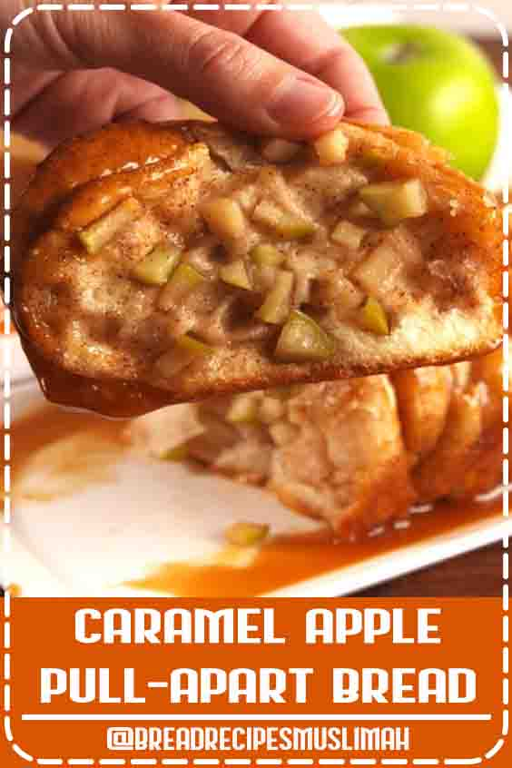 This caramel apple pull-apart bread from Delish.com combines biscuit dough and apples to make one amazing dessert. #quick #Sweet #Bread #Recipes #breakfast