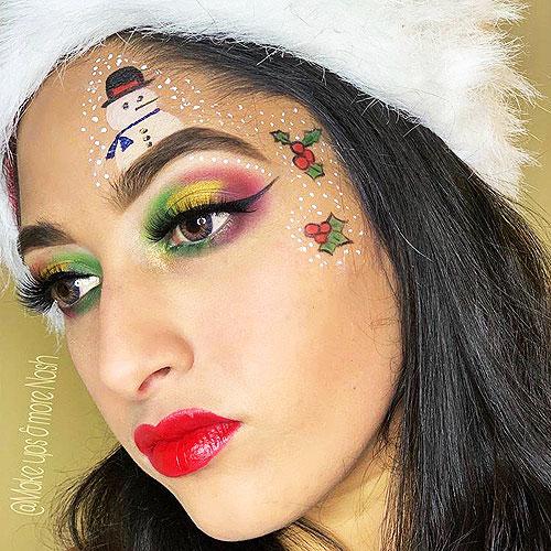 Maquillaje con dibujos navideños en el rostro