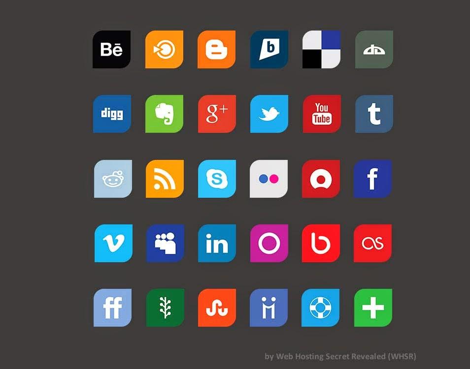 Leaf: Flat Design Social Media Icon Set