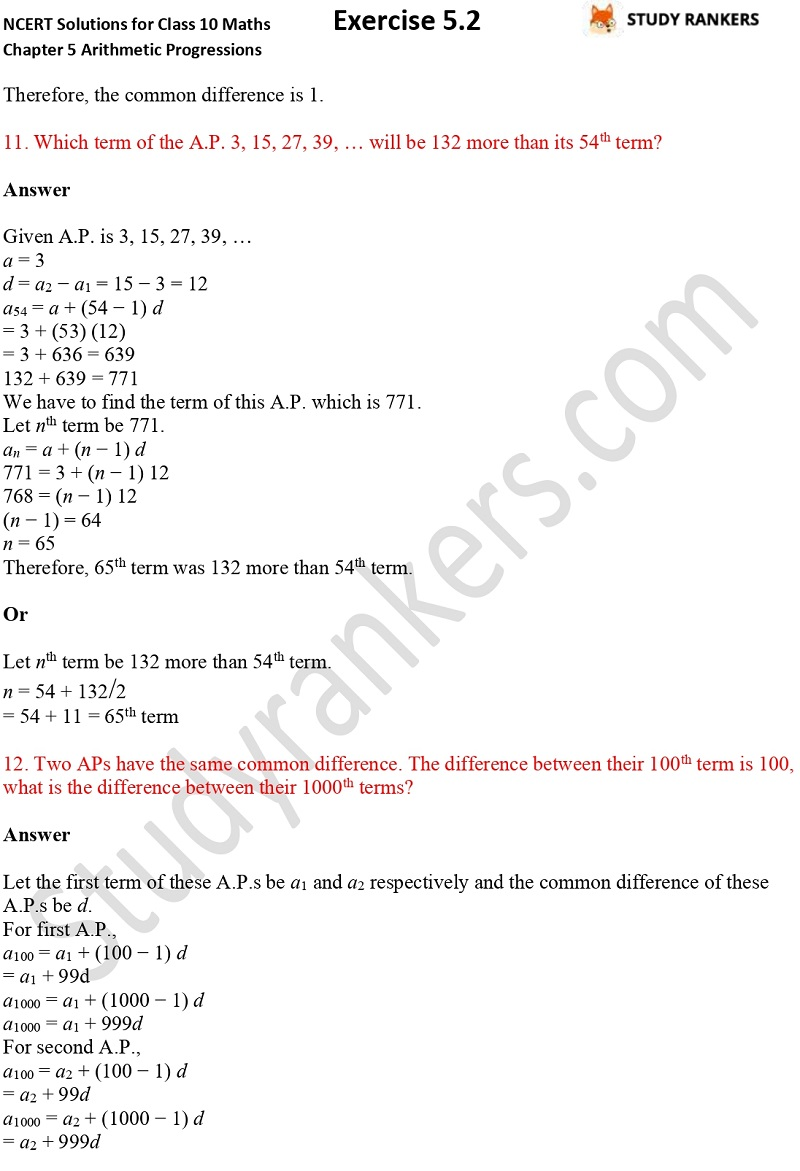 NCERT Solutions for Class 10 Maths Chapter 5 Arithmetic Progressions Exercise 5.2 Part 9