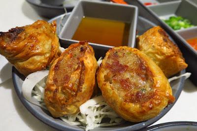 Milkfish, hae cho fried prawn rolls