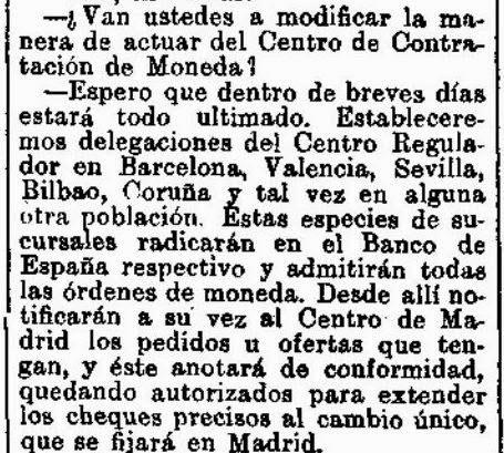 Centro oficial de contrataci n de moneda aportes para for Sucursales banco de espana madrid