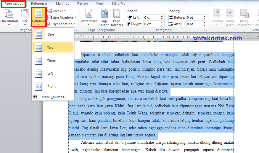 PENDIDIKAN: Cara Membuat Kolom Koran di Microsoft Word