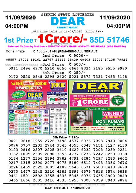 Lottery Sambad Result 11.09.2020 Dear Benefit Friday 4:00 pm