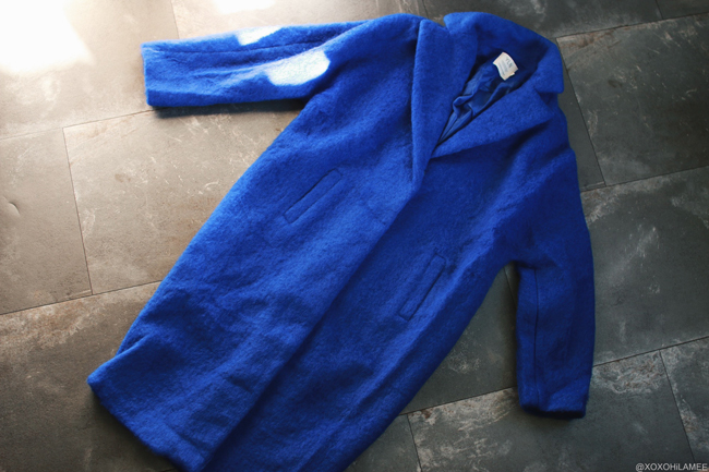 日本人ファッションブロガー,Mizuho K,NEWIN FROM Gamiss-ブルーウール風コート