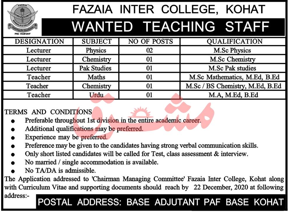 PAF College Fazaia Inter College Fazaia College Latest Jobs in Pakistan January 2021 Jobs