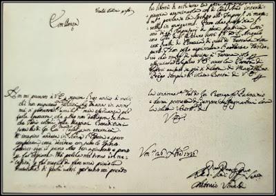 Χειρόγραφο γράμμα του Βιβάλντι του 1736