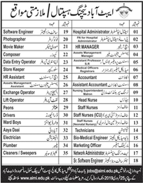 Abbottabad Teaching Hospital Announced Jobs in Abbottabad