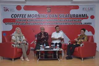 Dirreskrimsus Polda Jambi Hadiri Cofee morning dan Silaturahmi Forum Komunikasi Industri Jasa Keuangan