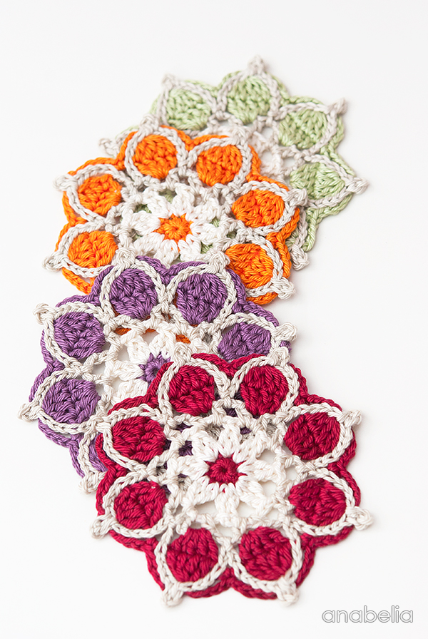 Winter Flowers crochet coasters, motif # 1 / 2017 Anabelia Craft Design