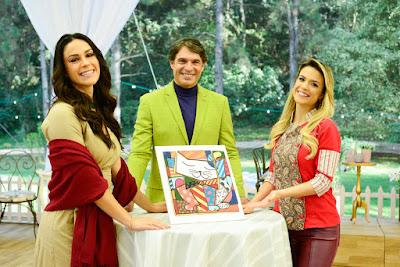 Nadja, Olivier e Beca com os biscoitos referência (Crédito: Zé Paulo Cardeal/SBT)