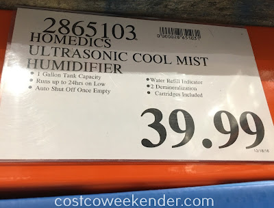 Deal for the HoMedics Cool Mist Ultrasonic Humidifier at Costco