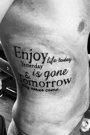 Quotes Rib Tattoos for Men