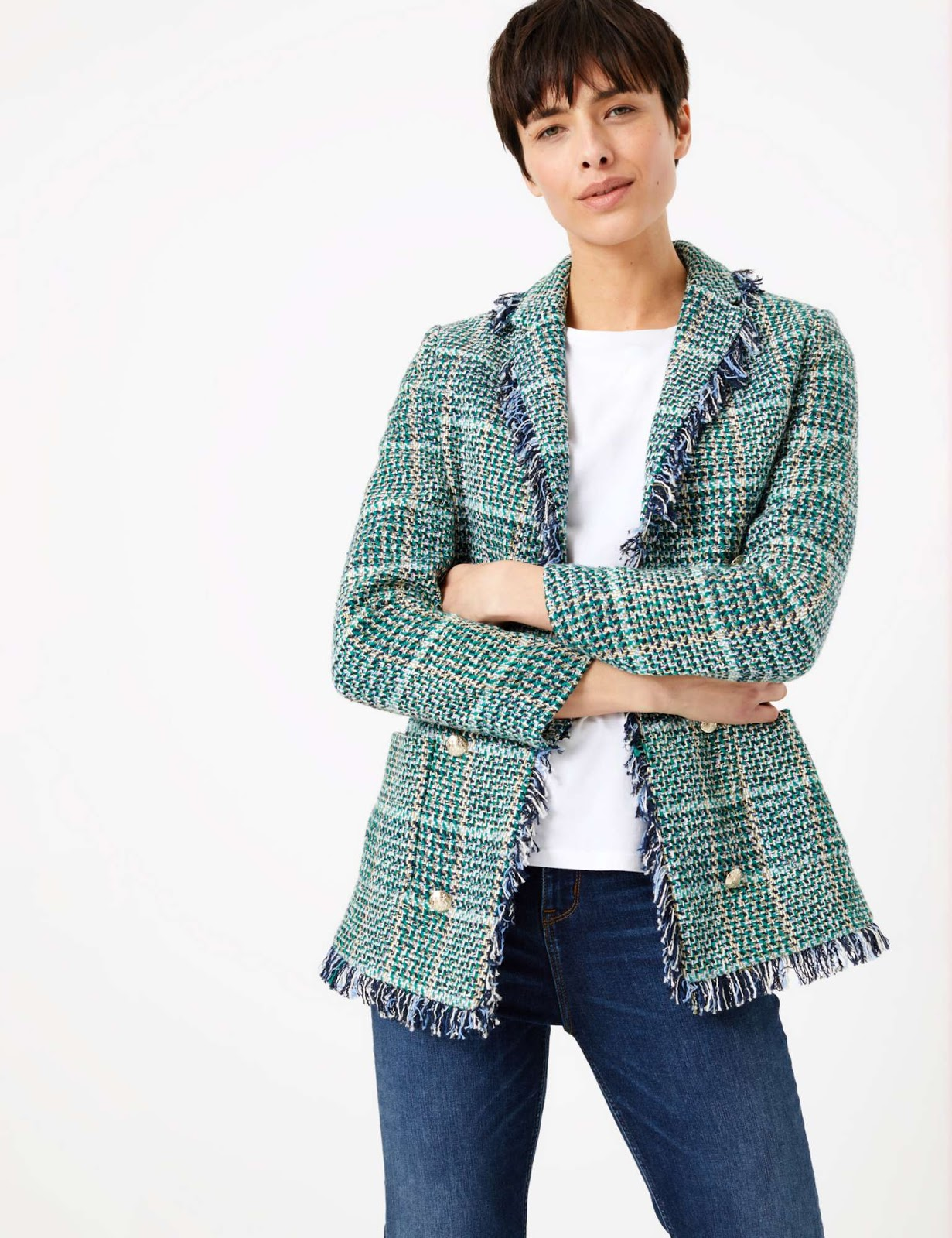 Marks and Spencer cotton rich checked longline blazer
