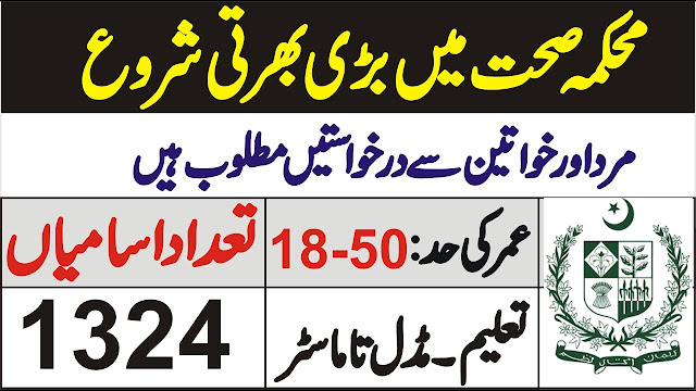 1324+Vacancy in Health Department for Male and Female Jobs 2020