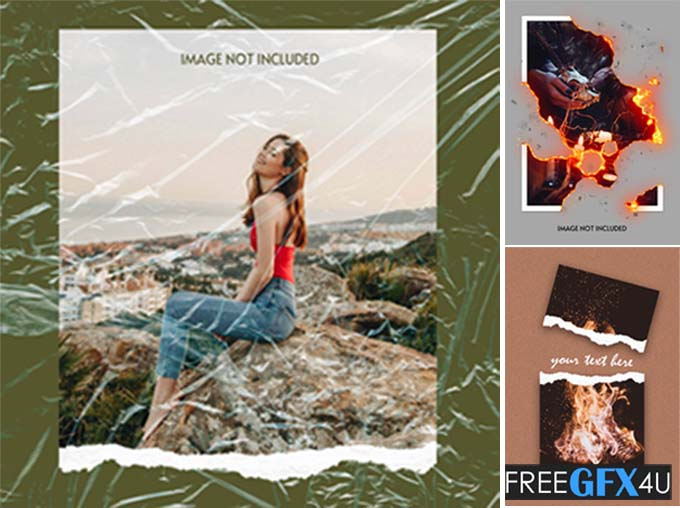 Burning Torn Paper Ripped PSD Template