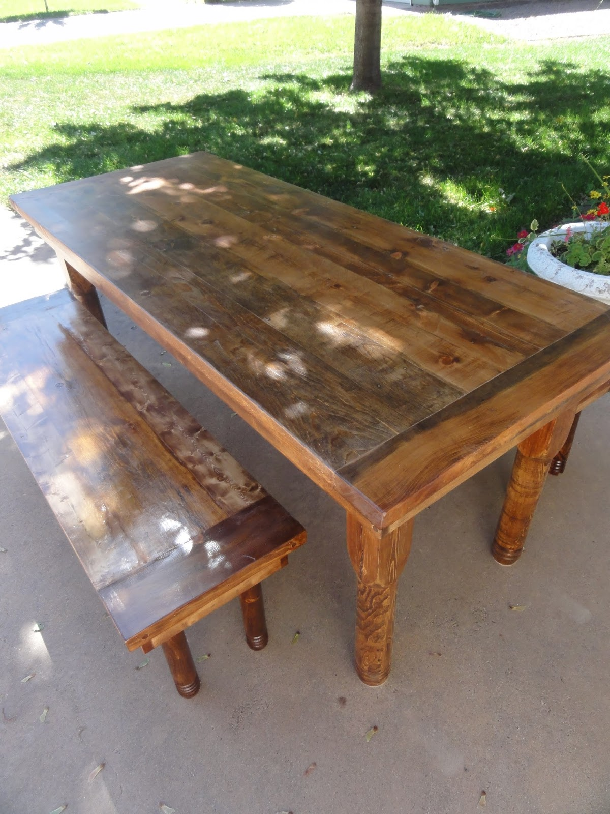 He Also Made This 7 Foot Table With Two Benches Out Of Salvaged Wood With  Lathe Turned Legs.