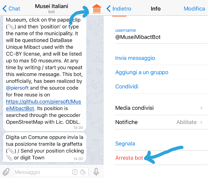 procedura per disinstallare bot da Telegram mobile