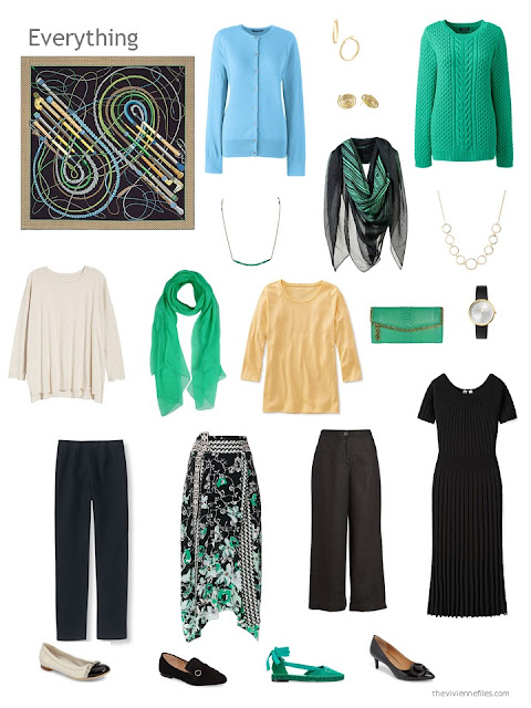 capsule wardrobe in black and ivory with green, yellow and blue accents