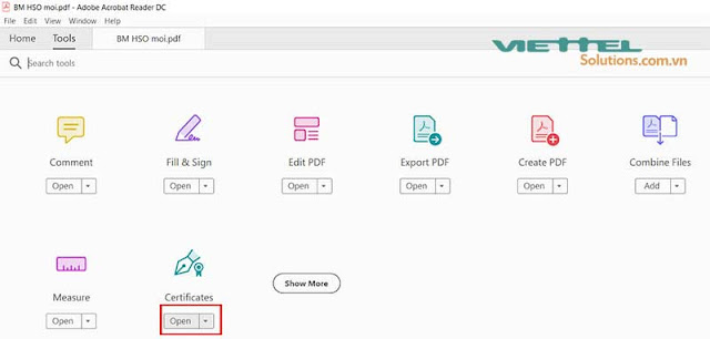 Hình 9 - Chọn Open Certificates trong giao diện Tools