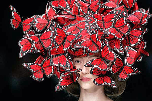 Alexander McQueen butterfly hat