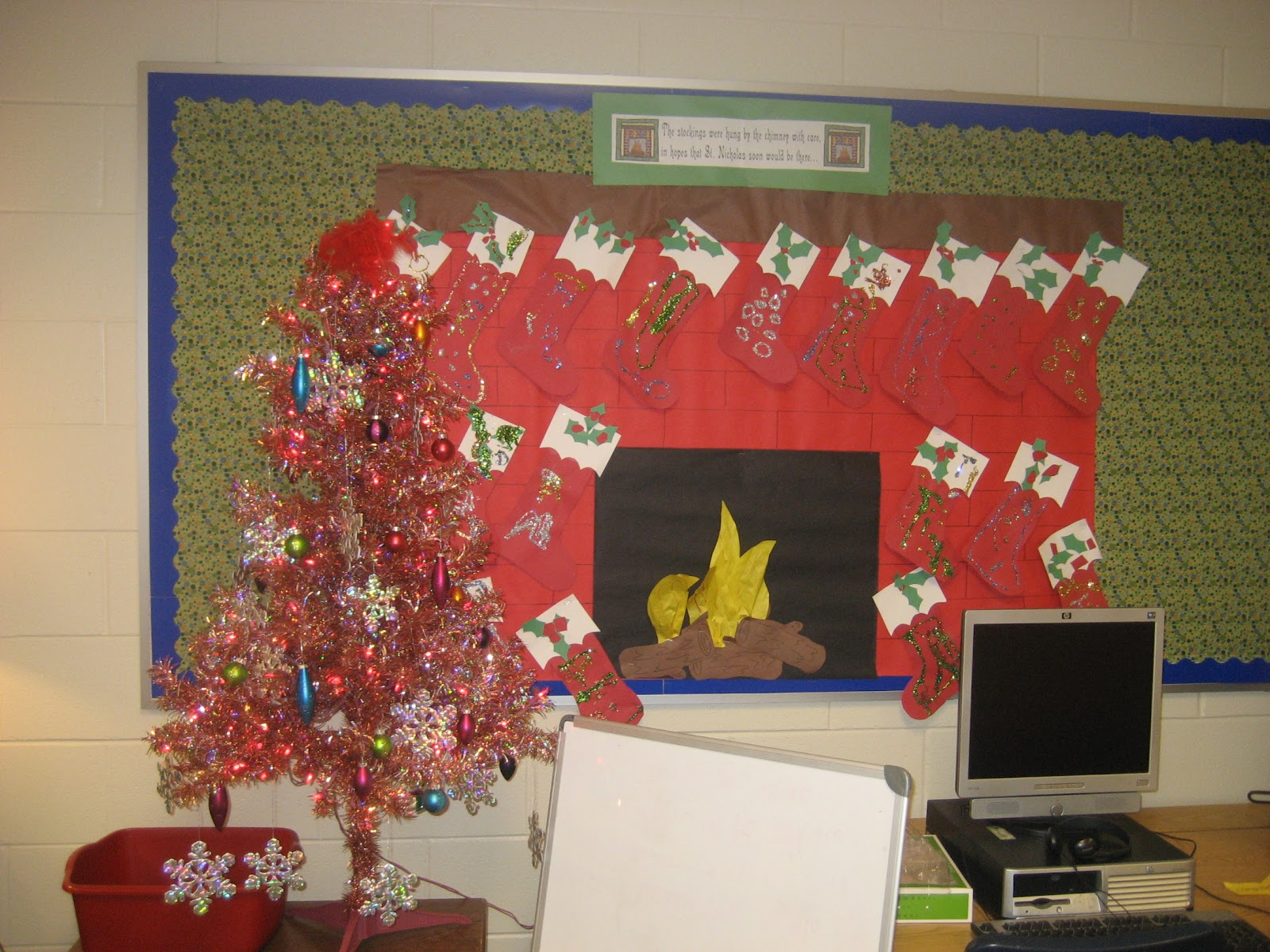 The Stockings Were Hung By Chimney With Care My Kinders Made Complete TONS Of Glitter To Hang On Our Fireplace