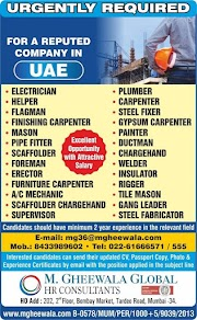 UAE JOBS : REQUIRED FOR A REPUTED COMPANY IN UAE .g
