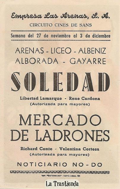 Mercado de Ladrones - Folleto de mano - Richard Conte - Valentina Cortesa