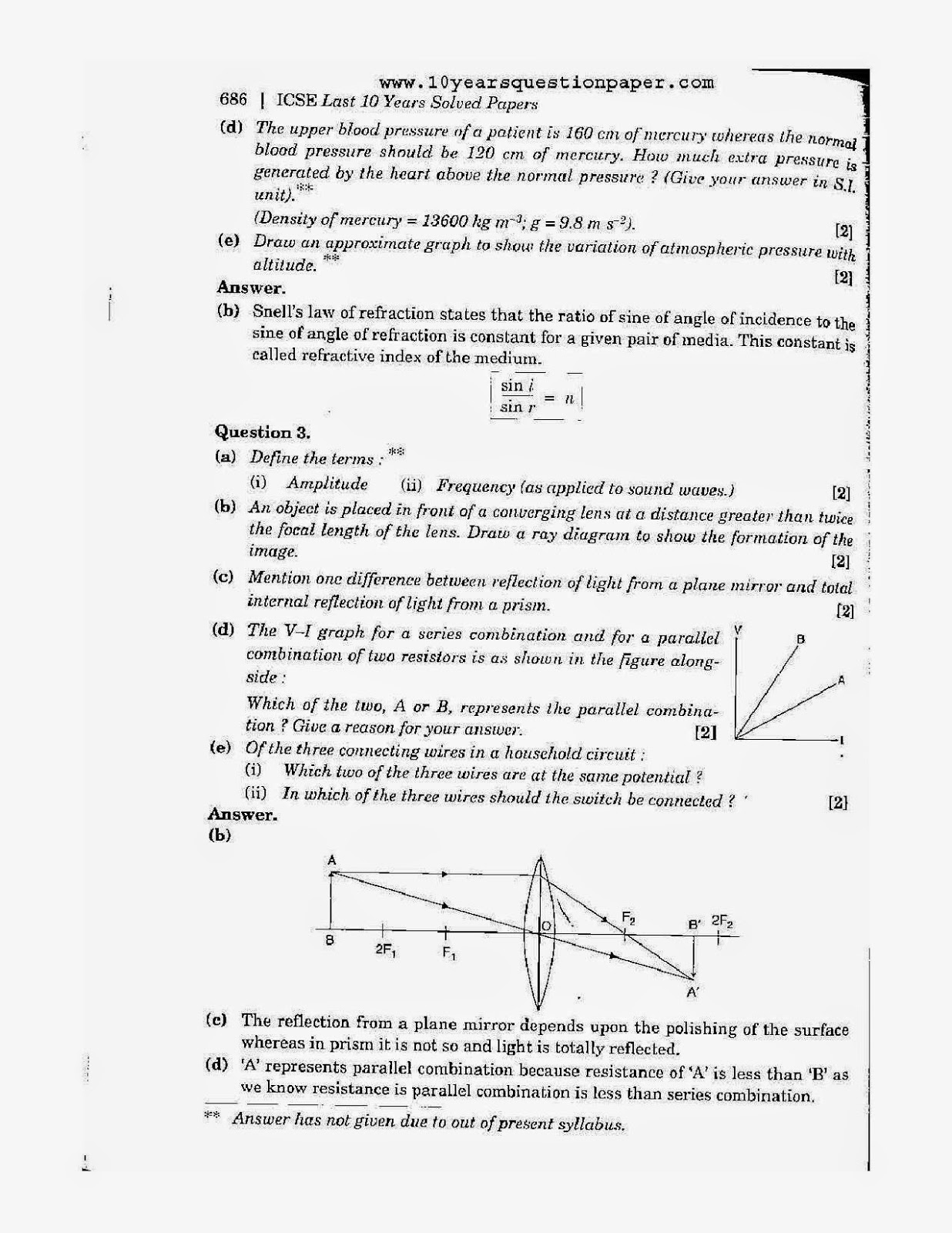 Icse 2007 exam physics science paper 1 board solved question icse 2007 class 10th science physics paper 1 question paper ccuart Image collections