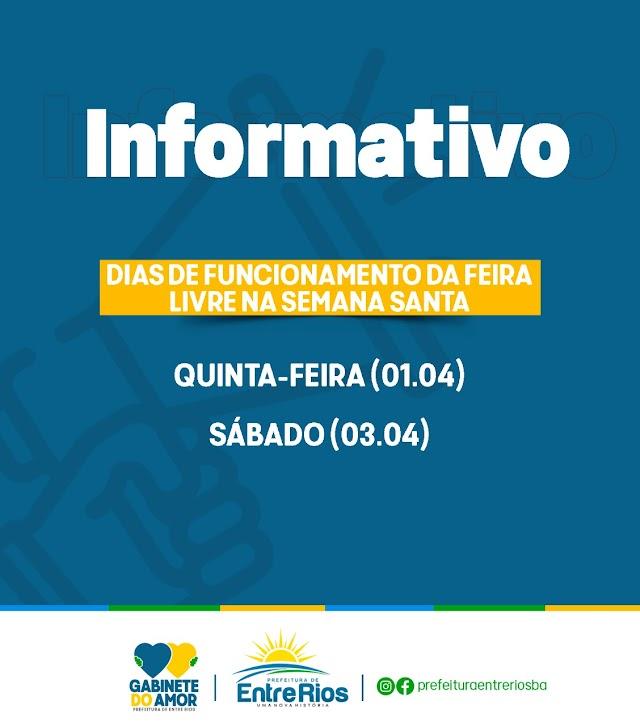 Prefeitura de Entre Rios informa dias de funcionamento da feira livre