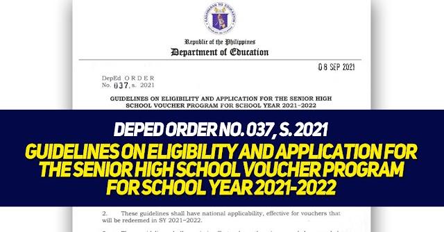 DepEd ORDER No. 037, s. 2021