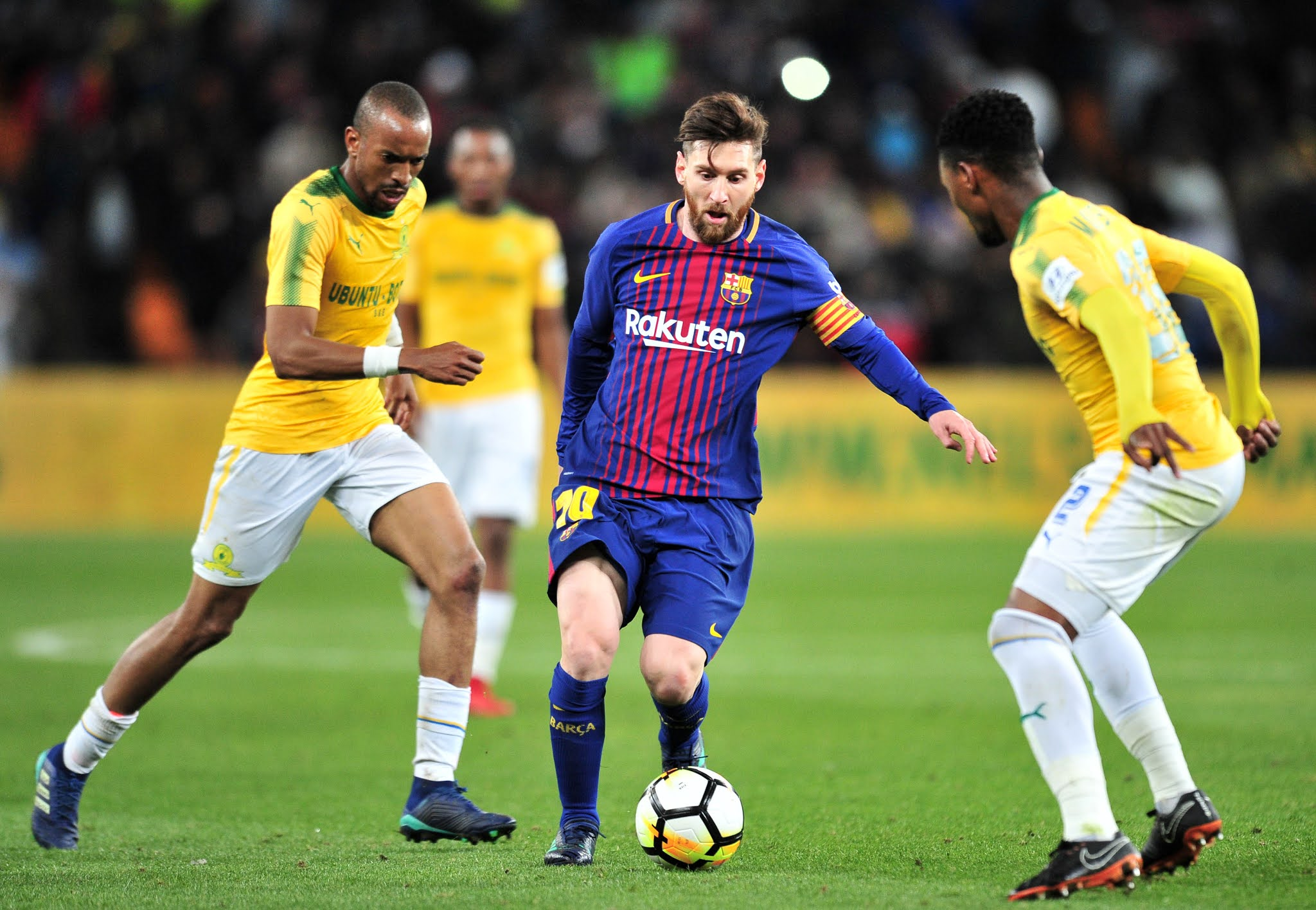 Lionel Messi in action against Mamelodi Sundowns at the 2018 Nelson Mandela Centenary Cup