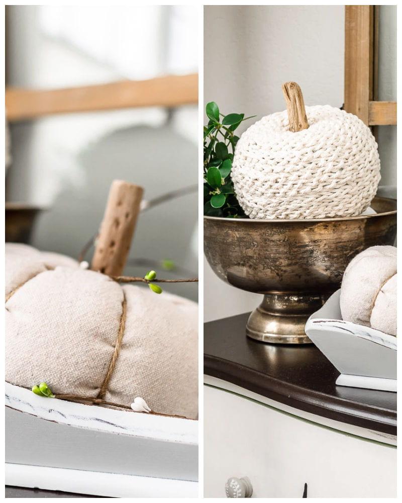 drop cloth and crochet chain pumpkins