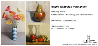 Exhibition invitation including exhibition details and depicting flowers, a pear and other assorted fruits and vegetables.