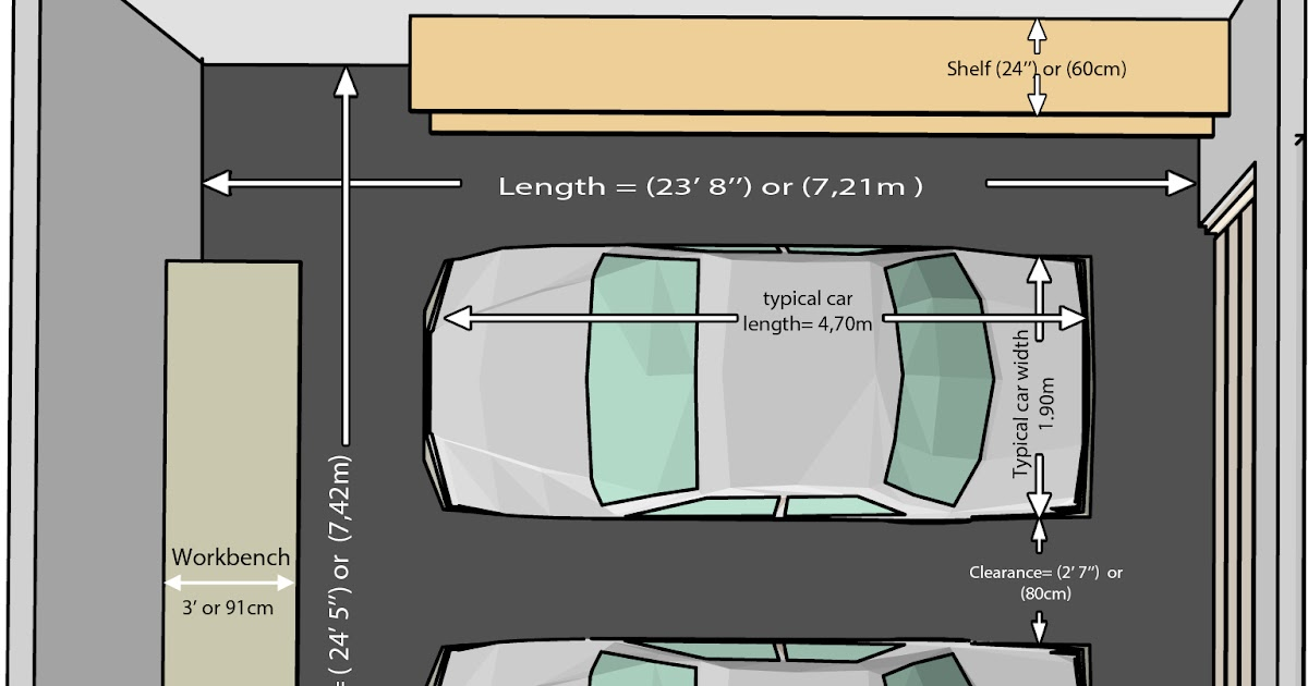 proper measure for standard 2 car garage size dimensions