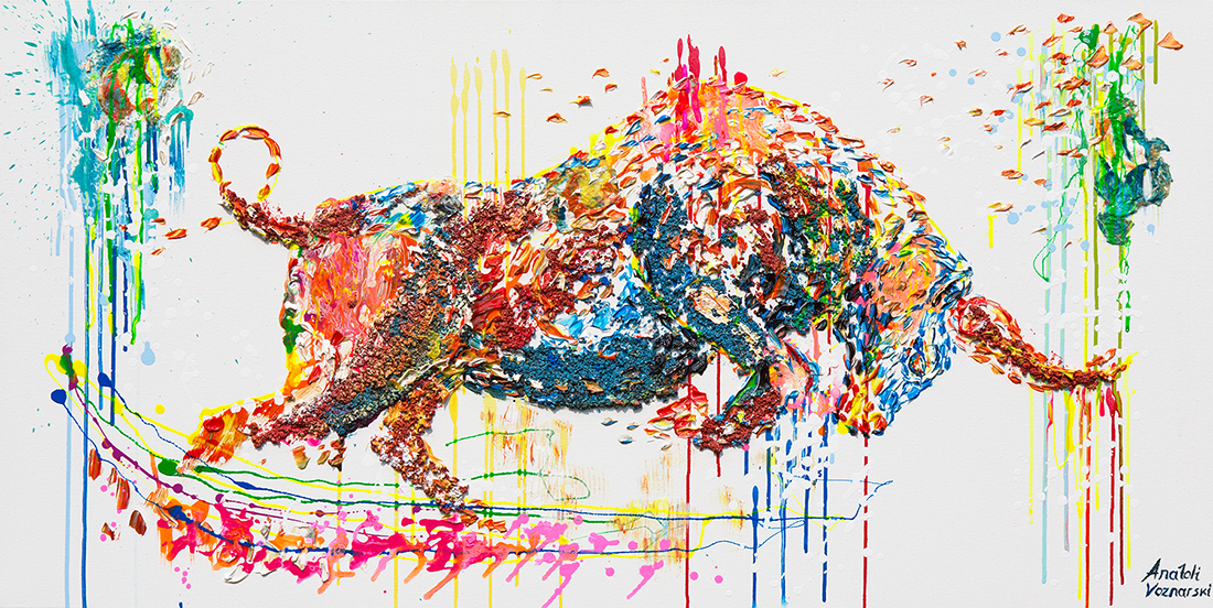 bull painting, bull acrylic, bull unique texture, thick layers bull, abstract bull, bull voznarski, mixed bull, beautiful bull,  bull pop art, bull wall art, beautiful bull , red bull