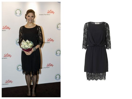 Crown Princess Victoria of Sweden wore By Malene Birger Black Siamue Dress for the World Diabetes Day 2012.