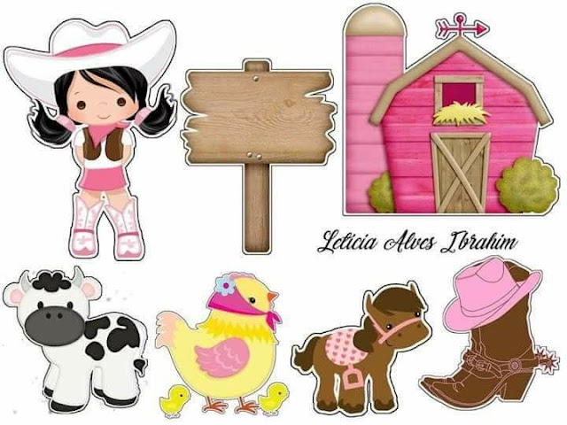 Cowgirl in Pink: Printable Cake Toppers.