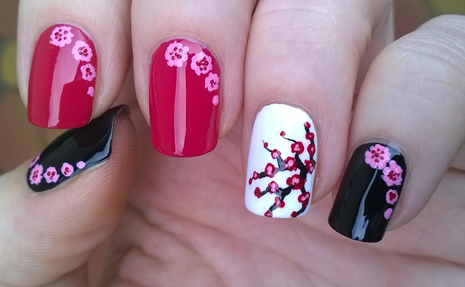 Cherry Blossom Nails Toothpick Nail Art